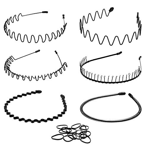 Whaline 6 STK Unisex Schwarz Welle Metall Stirnband, Metall Haarband Schwarz Spring Wave Haarband für Frauen Männer