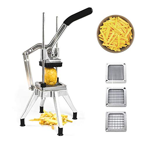 TOPHORT French Fry Cutter with 3 Blades, Stainless Steel Vegetable Mandoline Slicer with with 1/2-Inch, 3/8-Inch, 1/4-Inch Blades