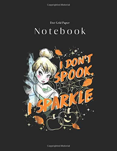 Dot Grid Paper Notebook: Disney Peter Pan Tinkerbell Halloween Sparkle Black Cover Dot Grid Take Note and Drawing Handwriting Marble Size 8.5 x 11 ... - Bullet Journal - Sketch Book - Math Book