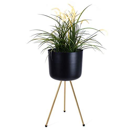 Driepoten bloempot Ø28xH62cm metaal ijzer zwart/messing kleuren bloempot houder bloempot staander plantenbak plantenbak