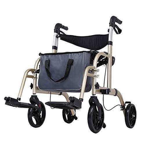 MYYLY rolstoelen rolstoel aangedreven rolstoel multifunctionele oude aluminium Walker met een stoel inklapbare kar, robuust draagbaar (kleur: bruin)