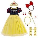 IMEKIS Enfant Filles Blanche-Neige Costume Princesse Halloween Cosplay Habillage De Noël Fantaisie Robe En Tulle Avec Accessoire Conte De Fées Carnaval Fête D'anniversaire Tenue