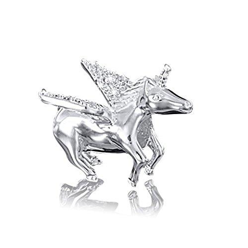 MATERIA 925 zilveren kralen Pegasus met 18 zirkonia 13x18mm - European Beads paard met vleugel hanger met doos #1502