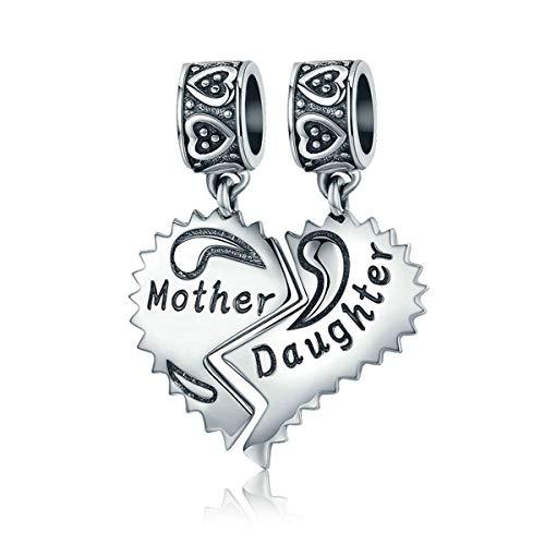Abalorio de plata de ley 925 para madre e hija con forma de corazón, para pulsera Pandora (madre e hija)