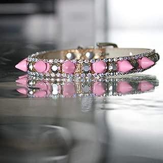 Cat Collar, Pop Pop Rock Black Spike and Pink Topaz Collar Pop Rock Collar - Rihanna Inspired Dog Jewelry Collar, Rockstar Pet Collars TM, Sizes XS-L, USA
