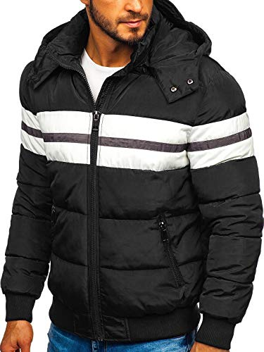 BOLF Herren Winterjacke Steppjacke Sportjacke Daunenjacke Puffer Jacket Gepolstert Outdoor Casual Street Look Jack Davis JK397 Schwarz XXL [4D4]