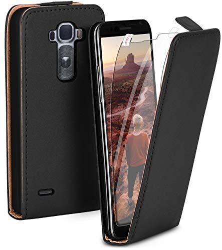 moex Flip Hülle mit Schutzfolie für LG G Flex 2 - Handytasche klappbar, Schwarz