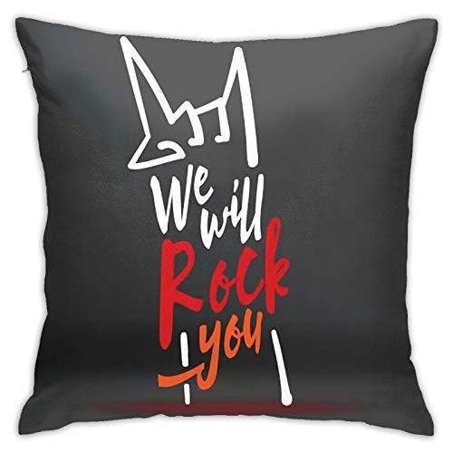 We Will Rock You - Fundas de almohada decorativas para decoración del hogar, sofá, dormitorio, cojín cuadrado impreso para coche, cama, salón, 45 x 45 cm