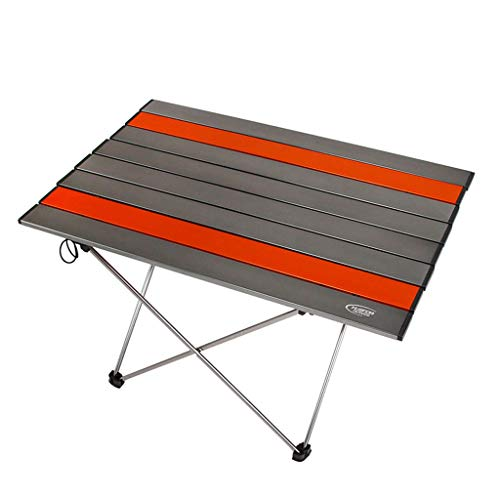 Table Pliante De Camping en Aluminium Portable pour Une Variété De Sports De Plein Air, Balcons, Pique-niques, Patios, Camping, Plages, Maisons (Color : Silver Gray+Orange Trumpet)