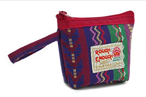 Rough Enough Folk Small Coin Purse for Men Women Boys Girls Teen Jewelry Case Earbuds Case Earphone case with Zipper and Tag Loops Handle for Travel Shopping School Outdoor Modern Folk Portable