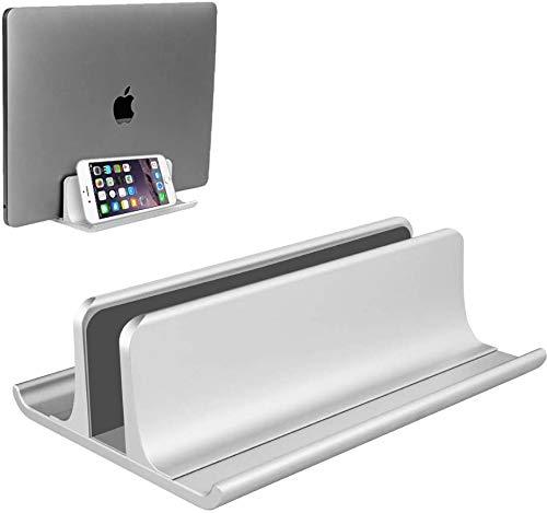 Soporte vertical para ordenador portátil, ajustable, ahorro de espacio, tres en uno, para todos los MacBook Pro Air, Mac, HP, Dell, Microsoft Surface, Lenovo, hasta 17,3', color plateado