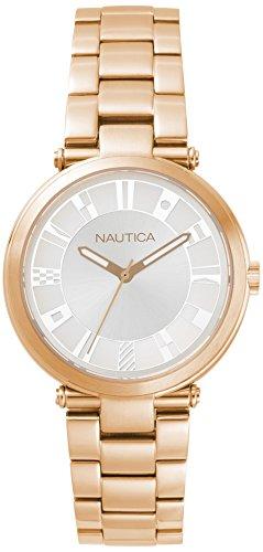 Nautica Damen Analog Quarz Uhr mit Edelstahl Armband NAPFLS006