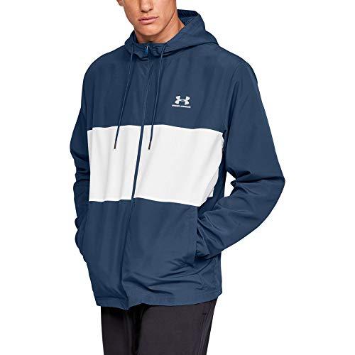 Under Armour Men's Sportstyle Wind Jacket , Petrol Blue (437)/Onyx White , Large