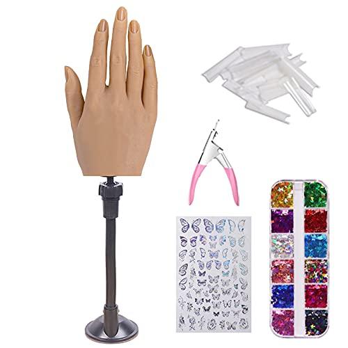 Manicure, Hand Model, Nail Manicure, Starter Training Nail Art Übungshand Übungsfingermodell (3 # Zubehörhalterung)