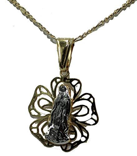 Colgante de Medalla de 18 K Chapado en Oro con Cadena de 50,8 cm de Diamantados de Florida Virgen de Guadalupe