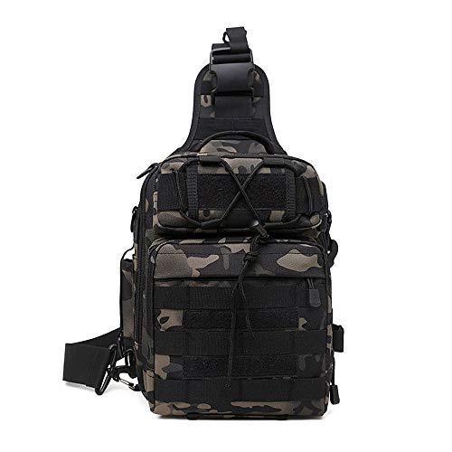Huntvp Taktisch Schultertasche Militär Brusttasche Wasserdicht Sling Rucksack Crossbody Bag Multifunktion mit Verstellbar Schultergurt für Sport Angeln Outdoor, Grau Camo