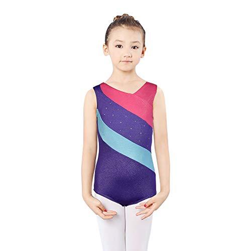 DoGeek Turnanzug für Mädchen Kinder Gymnastikanzug für Mädchen Ballettanzug Langarm Turnanzug Turnbody Mädchen Langarm Leotard Gymnastics Ballett Trikot (Referenzgrößentabelle) (Kurz-Lila, 4-5Jahre-S)