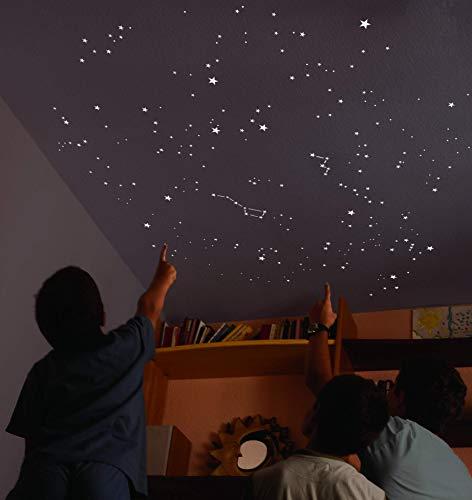 Encambio Alcrea Kit de 270 Estrellas Fluorescentes + Plantilla de 2 m². REPRODUCCIÓN EXACTA del Cielo + Mapa del Cielo con indicaciones. para un Techo o Pared