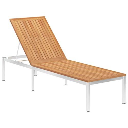 vidaXL Teak Massiv Sonnenliege Gartenliege Relaxliege Gartenmöbel Liege Strandliege Holzliege Freizeitliege Strandliege Liegestuhl Edelstahl