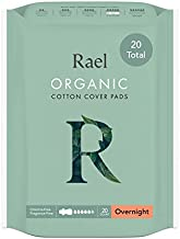 Rael Organic Cotton Sanitary Pads - Overnight Size, Heavy Absorbency, Unscented, Ultra Thin Pads for Women (20 Count)