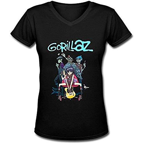 GFTYEUW Women's Gorillaz Slim Fit V-Neck T-Shirt Size:M