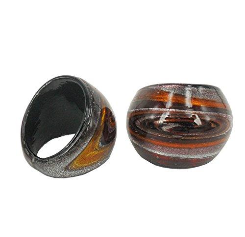 Perla Moda Ring Cabochon aus Murano-Glas handgefertigt (Die Größe:19)