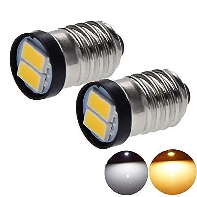2/10 Pcs E10 Screw Base Socket Flashlight Torch LED Bulb 3V 3 Volt Mini Lamp White WARM WHITE 5630 2SMD 1447 Small LED Light