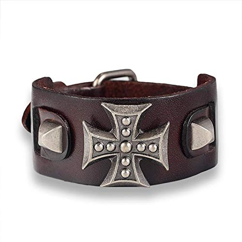 Pulsera Joyas Bracelet Leather Bracelets Male Cross Retro Bracelet Homme Genuine Leather Bracelet Men Woman Bracelets Bangles Coffee