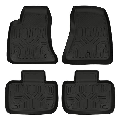 Black Floor Mats Compatible with 2011-2021 Dodge Charger RWD / Chrysler 300 RWD Accessories Front & 2nd 2 Row Seat Liner All Weather Protection TPE Custom Fit Slush Floor Liners