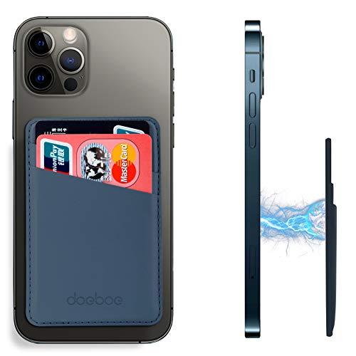 doeboe Compatible con Magsafe Wallet iPhone 12 Pro Max, soporte de tarjeta de cuero para la parte posterior del iPhone 12, carteras magnéticas de tarjetas de crédito para iPhone 12 Mini Pro