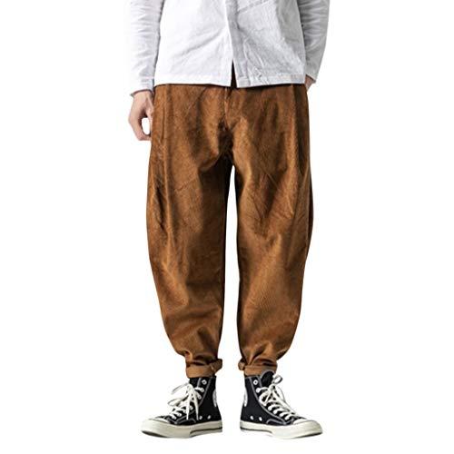 ZODOF Pantalones de Playa para Hombre Pantalones de harén de Corbata Pantalones de Linterna Pantalones de Lino con Bolsillos Laterales Pantalones cómodos y livianos