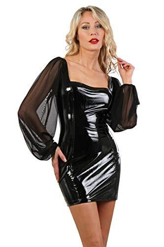 Miss Noir Damen Wetlook Sexy Vinylkleid S-3XL mit Langen Puffärmeln 2-Wege-Reißverschluss Vinyl Minikleid Glanz Lack-Lederlook Party Kleid Clubwear (Schwarz, 3XL)
