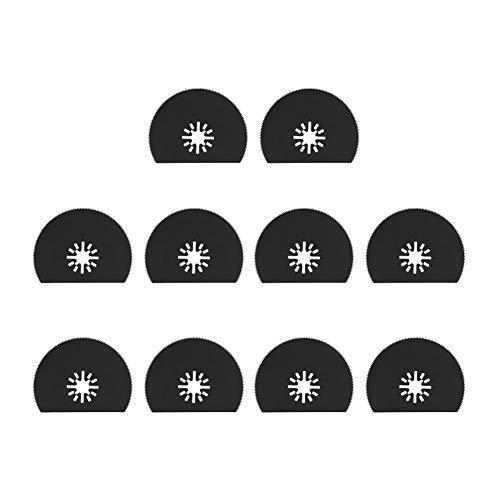 10Pcs Oszillierende Sägeblätter 80mm / 3,1 Zoll Kohlenstoff Stahl Halbrund Oszillierende Multitool Schnellspanner Kit zum Schleifen, Schleifen und Schneiden