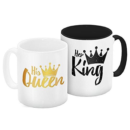 2er Tassen-Set mit süßem Motiv mit Krone und dem Text – Her King | His Queen - zum Valentinstag | Liebes-Tasse | Valentinsgeschenk