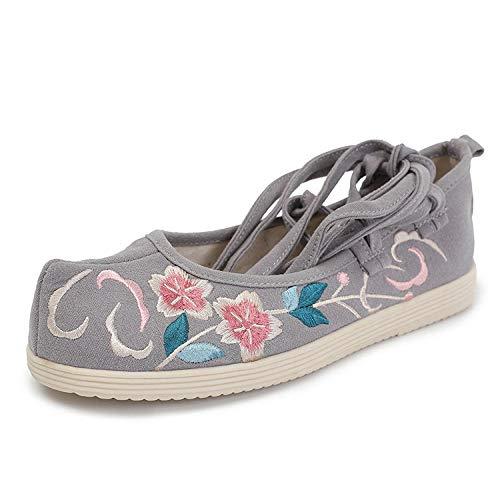 LYNLYN Zapatos Bordados Zapatos Pisos Viejo Beijing Zapatos de Tela Zapatos Bordados Alicia arquean los Zapatos Hanfu Ropa Arte de té Silvestre Pisos rápidos liyannan (Color : Gray, Size : 39)