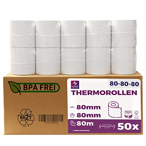 Papel térmico 80mm x 80m x 12mm - ideal para todas las cajas registradoras y TPV - Rollos para impresora térmica - (80x80x12) Blanco -Sin BPA ( 50 Rollos)