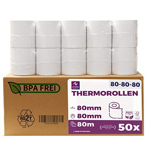 Thermorollen 80mm x 80m x 12mm - Kassenrollen - Bonrollen für Registrierkasse mit Bondrucker - Thermopapier – BPA Frei (Large 80x80x12 - 80 Meter - 50 Rollen)