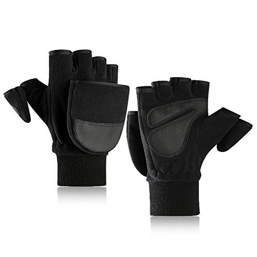 Danolt Winter Handschuhe, Warm Fleece Fingerlose Handschuhe Unisex Cabrio Halbfingerhandschuhe für Indoor Outdoor Sport
