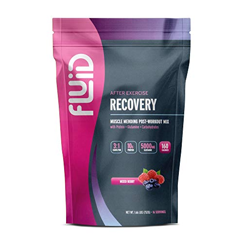 Fluid Recovery, Post-Workout Drink Mix, Whey Isolate Protein, L-Glutamine, Carbs, All Natural Ingredients, Gluten-Free, Lactose-Free (Mixed Berry)