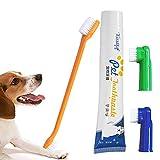 Kit de cuidado dental para perros, incluye pasta de dientes, cepillo de dientes, reduce la formación de sarro, seguro para cachorros