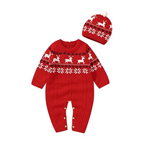 NCONCO Bebé de punto mameluco y sombrero de alce copo de nieve suéter mono otoño invierno cálido mono, rosso, 0-3 Meses