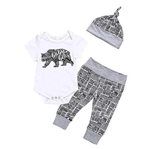 YEBIRAL 3tlg Babykleidung Set Baby Jungen Kleidung, Neugeborenes Baby Strampler Kurzarm Body + Hose + Mütze Baumwolle Weiche Babyset Outfit