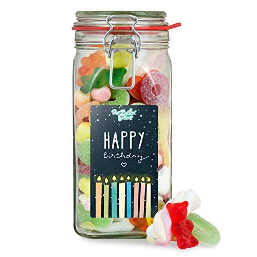Happy Birthday - großes Süßigkeiten-Naschglas zum Geburtstag für Familie, Freunde und Mitarbeiter