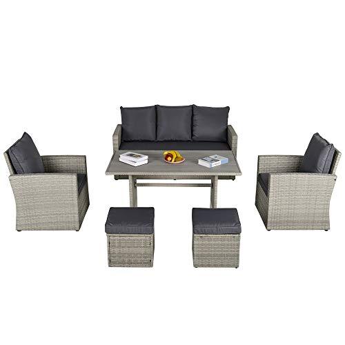 Outsunny Poly Rattan Sitzgruppe 6 TLG. Garten Essgruppe Sofa-Set Sofa Lounge Hocker Hof Balkon Pool PE Rattan Grau