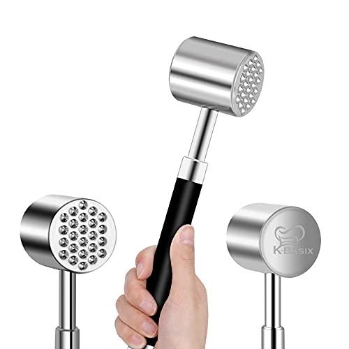 K BASIX Meat Tenderizer Mallet / Hammer / Pounder - Stainless Steel - Dual-Sided Tool for Tenderizing, Flattening & Pounding Venison, Pork, Veal, Lamb, Chicken, Steak & Turkey - Dishwasher Safe
