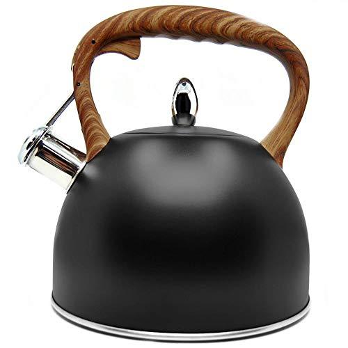 ORION Wasserkessel Wasserkocher Teekessel Flötenkessel Modern automatisch schwarz Holz-Farbe 2,5L Gas Induktion