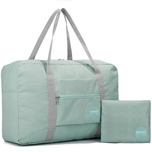 Wandf Leichter Faltbare Reise-Gepäck Handgepäck Duffel Taschen Übernachtung Taschen/Sporttasche für Reisen Sport Gym Urlaub Weekender handgepaeck (Minzgrün 25L)