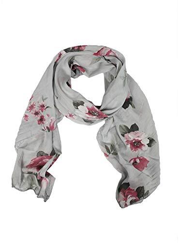 Zwillingsherz Seiden-Tuch Damen Blumen Muster - Made in Italy - Eleganter Sommer-Schal für Frauen - Hochwertiges Seidentuch/Seidenschal - Halstuch und Chiffon-Stola Dezent Stilvoll grau
