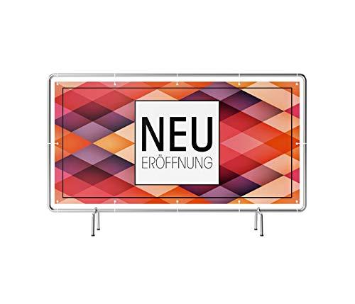 Neueröffnung Banner | Werbebanner mit Saum & Ösen alle 50 cm (Banner 340 x 173 cm (Bauzaun))