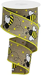 Wired Ribbon Yellow White Beige Bumblebee 2.5